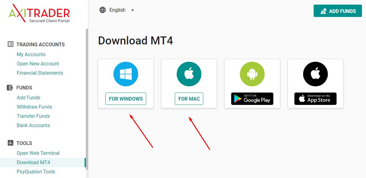 Bước 2 chọn MT4 cho Windows