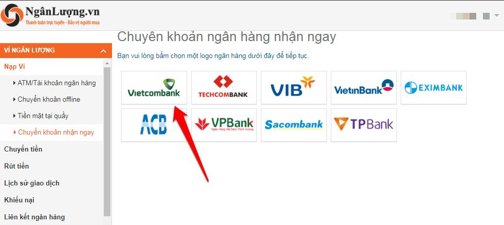 Chuyển khoản ngân hàng Vietcombank