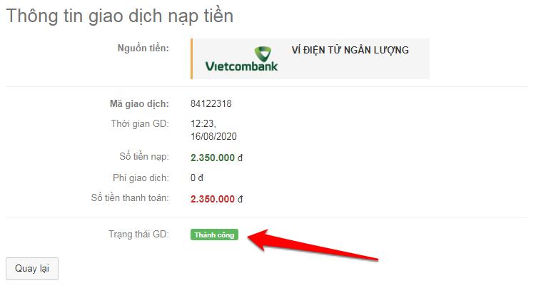 Thông tin giao dịch nạp tiền
