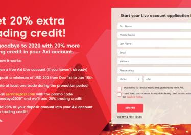 Hướng dẫn nhận AxiTrader Bonus 20%