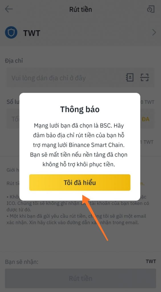 Hướng dẫn cách rút Trust Wallet Token trên Binance 4