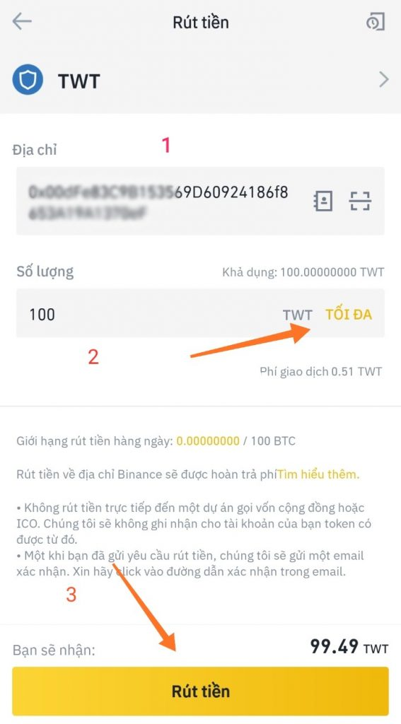 Hướng dẫn cách rút Trust Wallet Token trên Binance 6