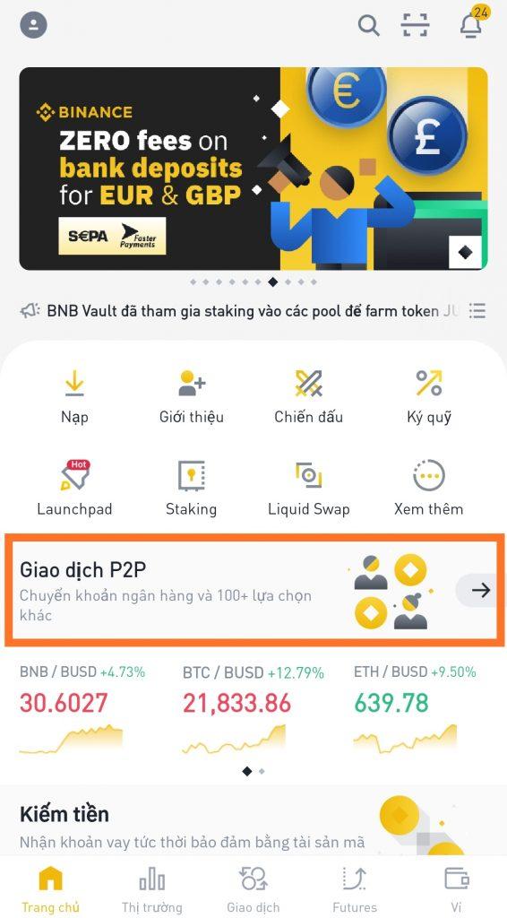 Hướng dẫn mua Bitcoin trên Binance